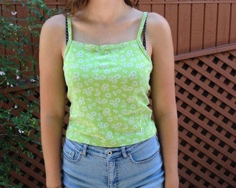 FREE SHIPPING 90s Green Daisy Tank Top Gap Small