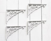 Small Iron Brackets, Shabby White ,Shabby Living Room Home,Bathroom Fixture,Small Brackets,Anthropologie Home, True White,Creamy Ivory White