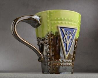 Sheet Metal Mug Ready To Ship V8 Green and Chrome Sheet Metal Stoneware Mug by Symmetrical Pottery