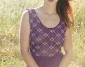 SUGAR PLUM Vintage 1970's Gauzy Cotton Dress Caftan Crochet Neckline.Gold and Purple Boho Maxi Length Sheer Upper