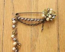 Vintage 50's Handmade Beaded Saftey Pin Brooch