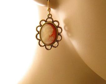 Dangle Cameo Earrings, Victorian Woman Peach Cameo Jewelry, Downton Abbey Jewelry