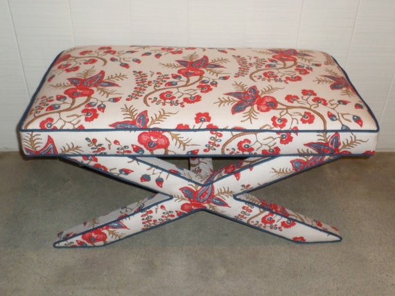Custom X Bench Extra WIDE- With Piping/Welt on Legs