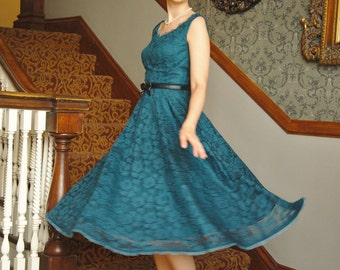 Sample SALE  50s style petrol blue party dress with lace overlay, size 6