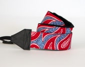 READY TO SHIP - slr Camera Strap - Gift for Her - Red, White and Blue - American Paisley