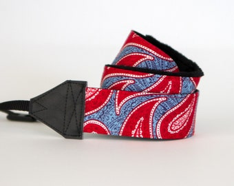Camera Neck Strap - Padded Camera Strap - Nikon Strap - Camera Accessories - Red Camera Strap - Binocular Strap - Canon - American Paisley