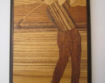 Irish Woodscape - Male Golfer - Wood Veneer Art by Trisha Talty