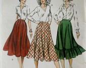 KWIK 1050 Womens 80s Flared Bias Cut or Ruffled Skirt Sewing Pattern Hip 40 to 45