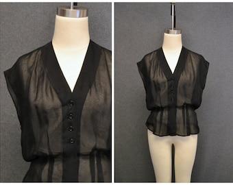 1950s Christian Dior Black Sheer Cap Sleeve Blouse