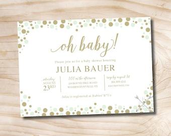 Mint and Gold Glitter Confetti Baby Shower Invitation - Printable Digital file or Printed Invitations