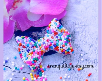 Sprinkle Hair Clip  Real Sprinkle Med Resin Bow  , Lolita, Kawaii, Scene , Birthday, Handmade By: Tranquilityy