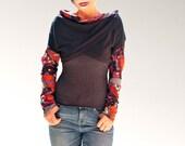 Women asymmetrical Little tops/ Black Long Sleeve Shrug Bolero/mini vests/wrap tops/handmade in France