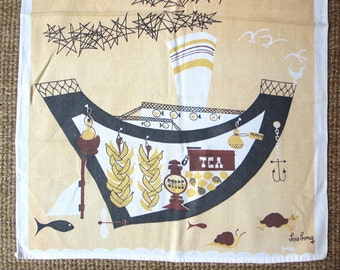 Tea boat. Vtg midcentury Lois Long kitchen towel / ship cargo / yellow brown / transportation series