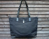 Black waxed canvas tote bag / carry all with  leather handles and leather bottem COLLECTION UNISEX