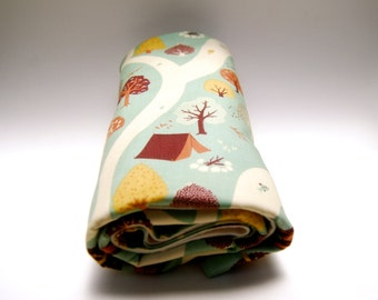 Organic Baby Blanket  -  Organic Cotton Flannel - Gender Neutral Woodland Camping Print  Eco Friendly