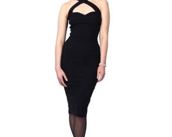 Vintage Style Black Halterneck Pencil/wiggle Dress Rockabilly Pin Up 50s