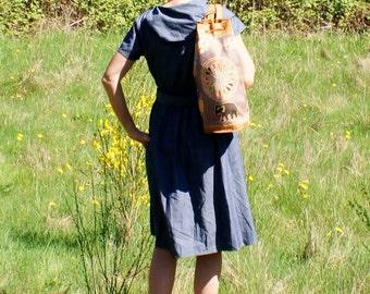 1970's Indian Sling Bag Backpack Embroidered Leather Boho Ethnic