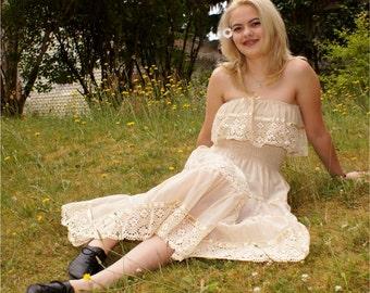 70's Boho Cotton Gauze Sheer Mexican Peasant Dress