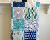 Woodland Baby Quilt - Buck Forest Teal - Modern Crib Quilt, Nature, Rustic, Deer, Antlers, Gray, Teal, Mint, Navy, White, Mustard