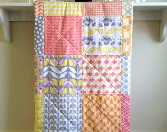 Modern Baby Girl Quilt - Haven - Coral, Pink,Red, Yellow, Grey, White - Crib Quilt - Minky Back - Handmade Toddler Quilt Patchwork