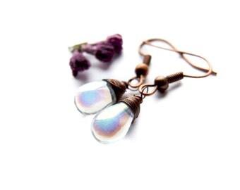 Dazzling Drop Earrings. Moonstone Style Shiny Drops Dangle Earrings