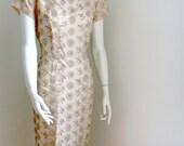 vintage 50s dress nude peach embroidered cocktail wiggle dress medium large