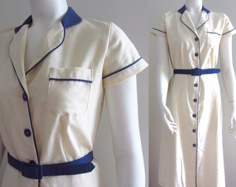 vintage 80s shirt dress buttercream blue trim small