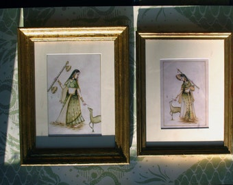 Vintage Pair of Prints - Indian Dancing Girls - Framed Art