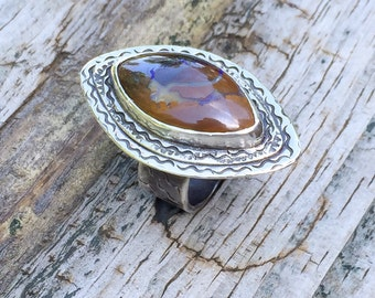 Koroit boulder opal statement ring size 6, marquise shaped artisan made ring, hand made, made in new hampshire, heavy sterling silver