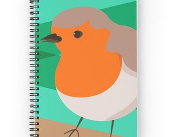 Notebook with Robin Illustration Cover and Spiral Binding