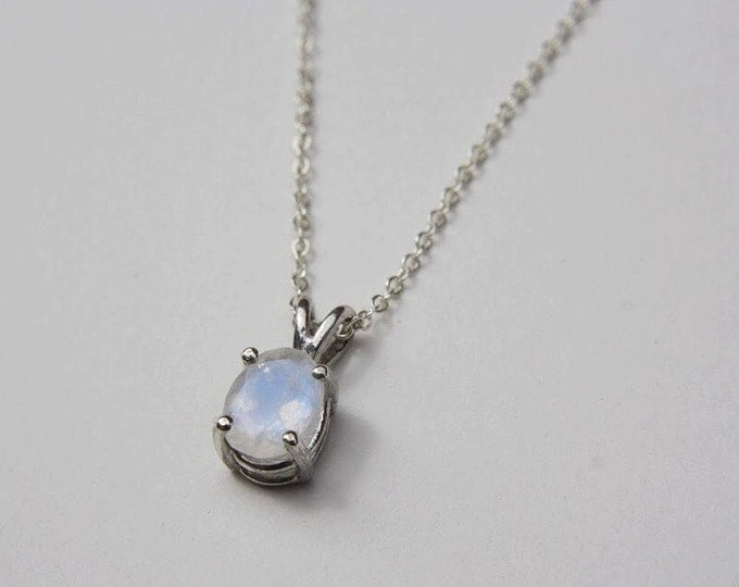 Dainty Faceted Oval Moonstone Necklace in sterling silver - sterling silver moonstone necklace - faceted moonstone necklace - oval moonstone