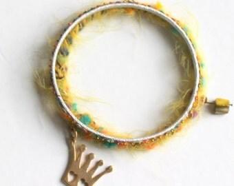 gold crown bracelet- 14k gold on sterling silver 925