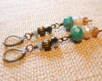 Vintage Style Brass Leverback Drop Earrings, Opaque Glass Earrings, Bronze Earrings, Bronze Jewelry, Brass Jewelry, Vintage Style Jewelry