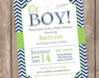 Paper airplane baby shower invitation, navy and lime green baby shower invitation, chevron, oh boy baby shower invitation, printable