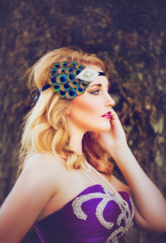1920s Headpiece for 1920s Dresses, Peacock Feather Headband, 1920s Hair Accessories, Silver Beaded Rhinestone Hairpiece
