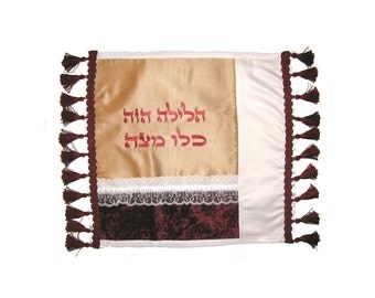 "Sale - Matzah Cover - Passover Gift Seder table festive Matzo Cover Seder gift with 3 traditional Matza ""pocket""- Original art from Israel"