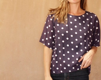 POLKA dot womens vintage NAVY blue and white BOXY simple classic blouse top shirt