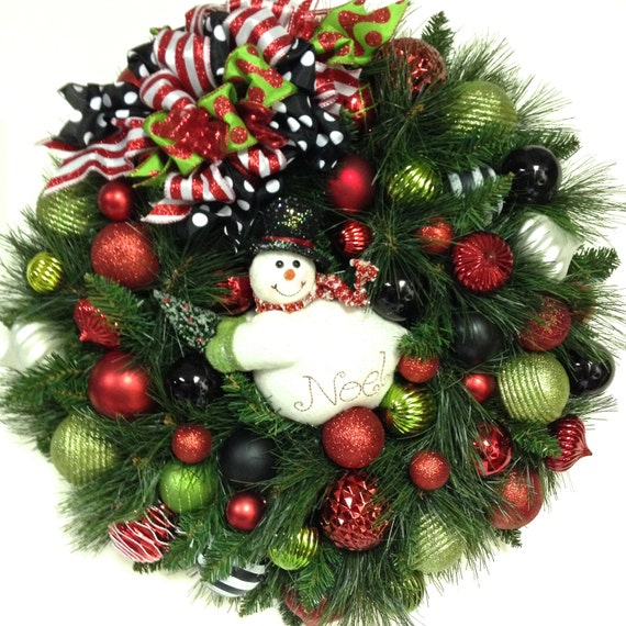 Snowman wreath christmas holiday winter xl 27 red white for Outdoor merry christmas ornaments
