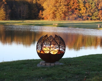 Autumn Sunset Fire Pit - Leaf Firepit Sphere