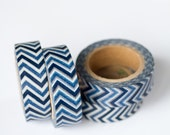 50% OFF SALE - 1 Roll of Navy Blue and White Chevron Zig Zag Masking Tape / Japanese Washi Tape (.60 inches wide x 33 feet long)