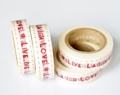 "75% OFF SALE - 1 Roll of Maroon Red ""Live Laugh Love"" Washi Tape (.60 inches x 33 feet)"