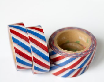 WASHI TAPE CLEARANCE - 1 Roll of Red, White, and Blue Stripe Airmail Washi Tape / Decorative Masking Tape (.60 inches x 33 feet)