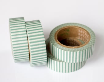 25% OFF SALE - 1 Roll of Teal and White Stripe Washi Tape / Decorative Masking Tape (.60 inches x 33 feet)