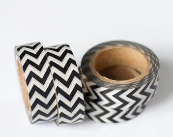 WASHI TAPE CLEARANCE - 1 Roll of Black and White Chevron Zig Zag Washi Tape / Decorative Masking Tape (.60 inches wide x 33 feet long)