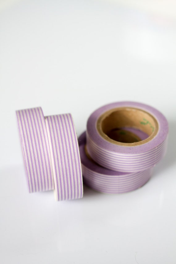 50% OFF SALE - 1 Roll of Light Purple / Lilac and White Pinstripe Washi Tape / Decorative Masking Tape (.60 inches wide x 33 feet long)