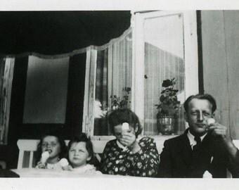 "Vintage Photo ""Ice Cream Treats"" Snapshot Photo Old Antique Photo Black & White Photography Found Photo Paper Ephemera Vernacular - 193"