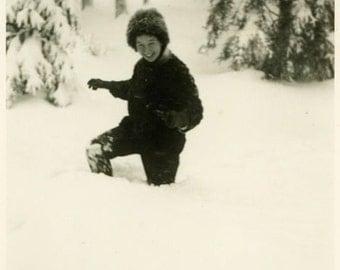 "Vintage Photo ""Knee Deep Fun"" Girl Playing in Snow Snapshot Photo Old Antique Photo Black & White Photograph Found Photo Paper Ephemera - 64"