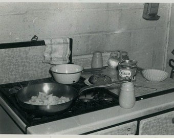 "Vintage Photo ""Cookin With Crisco"" Snapshot Photo Old Antique Photo Black & White Photography Found Photo Paper Ephemera Collectible - 182"