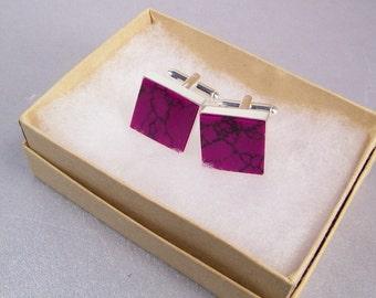 Royal Plum Cufflinks SHIPS IMMEDIATELY Square Handmade Plum Cuff Links Purple Wedding Cufflinks Gifts for Groom or Groomsmen Gifts for Him