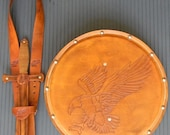 DAGGER Set - Dagger, Shield, & sword Belt w/ EAGLE Emblem - Handmade Leather
